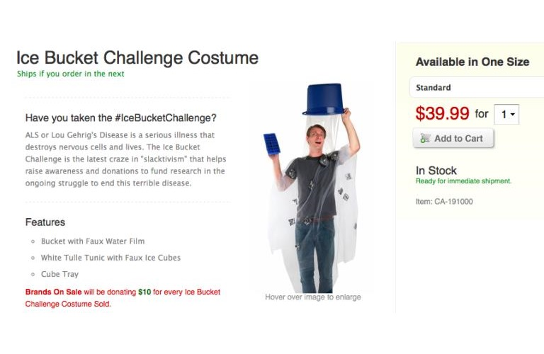 "The ""Ice Bucket Challenge"" is already a Halloween costume"