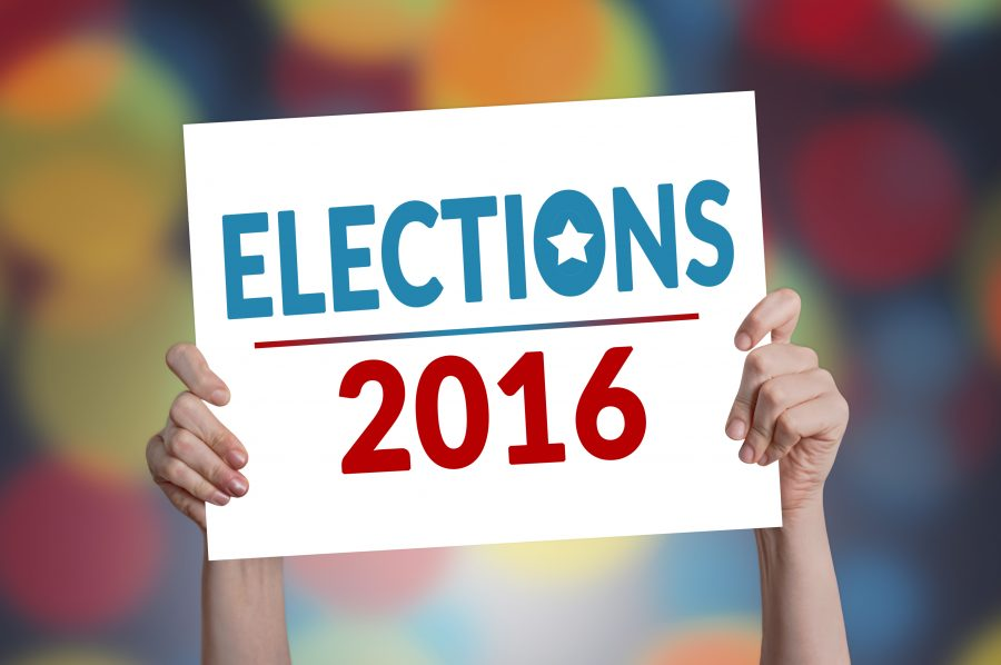 Elections 2016 Card with Bokeh Background